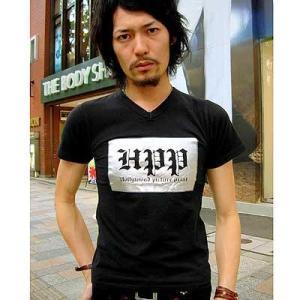 在庫処分セールpart2 HPP お兄系 細身 メンズファッション ブランドロゴ柄 半袖Tシャツ チャーム付/bia342|frogberry