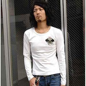 在庫処分 セール メンズ 長袖 Tシャツ アメカジ HPP 牙髑髏柄 ファッション 服 細身 送料無料/ bia353|frogberry