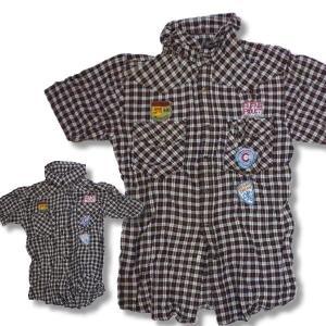 アウトレット 在庫処分 セール アメカジ メンズ しわ加工 ワッペン チェック シャツ 半袖 細身 薄手 / bia424|frogberry