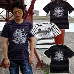 在庫処分セールpart2 アメカジ ボーダー&王冠柄 きらきらラメ 半袖 Tシャツ メンズ / bia532|frogberry