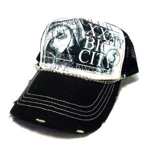 アメカジ ダメージ加工 メンズ メッシュキャップ 帽子 チェーンつき デカワッペン / bic012|frogberry