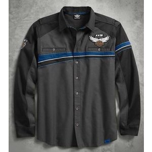 ハーレーダビッドソン Harley Davidson  メンズ ロングスリーブシャツ  Men's 115th Anniversary Performance Vented Chest Stripe Shirt|fromla