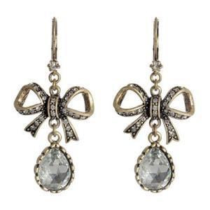 【セール】★ベッツィージョンソン Betsey Johnson クリスタル リボン イアリング Crystal Bow Earrings|fromla