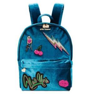 ベッツィージョンソン バックパック Betsey Johnson  Velvet Medium Backpack (Blue) ベルベット ミディアム バックパック/リュック(ブルー) fromla