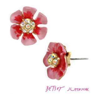 ベッツィージョンソン Betsey Johnson  ビジューピアス  SPRING GLAM PINK FLOWER STUD EARRING(Pink) ピンク フラワー スタッド イヤリング(ピンク)|fromla