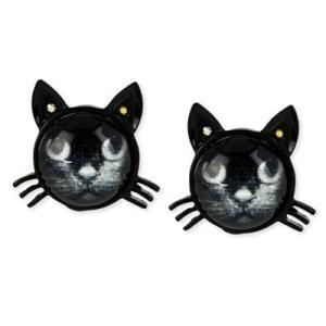 ベッツィージョンソン ピアス Betsey Johnson  Black Cat Stud Earrings (Black) ブラック キャット スタッド ピアス(ブラック) fromla