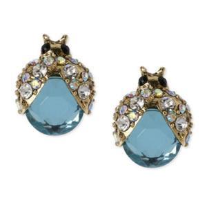 ベッツィージョンソン ピアス Betsey Johnson  Gold-Tone Blue Glass Crystal Bug Stud Earrings ブルーガラス クリスタル バグ スタッドピアス fromla