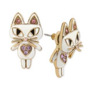 ベッツィージョンソン ピアス Betsey Johnson  Gold-Tone White Enamel Cat Earring Jackets (White) ホワイトエナメル キャット ピアス (ホワイト) fromla