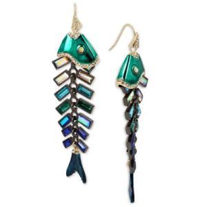 ベッツィージョンソン ピアス Betsey Johnson  Gold-Tone Multi-Stone Fish Drop Earrings (Multi) マルチストーン フィッシュ ドロップピアス (マルチ) fromla