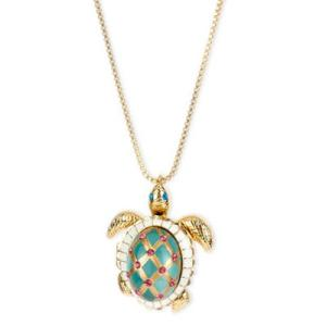 ベッツィージョンソン ネックレス Betsey Johnson  Gold-Tone Glass Pearl Crystal Turtle Pendant ガラス パール タートル ペンダント ネックレス fromla