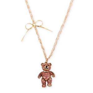 ベッツィージョンソン ネックレス Betsey Johnson  Rose Gold-Tone Pave Bear and Bow Pendant Necklace (Pink) ベアー ボウ ペンダント ネックレス(ピンク) fromla