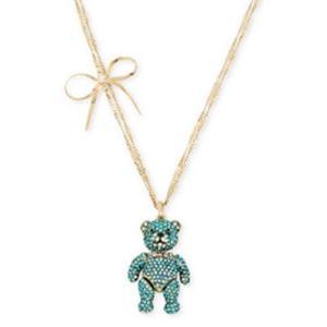 ベッツィージョンソン  ネックレス Betsey Johnson  Gold-Tone Crystal & Bow Bear Pendant Necklace (Blue) ベアー ボウ ペンダント ネックレス(ブルー) fromla