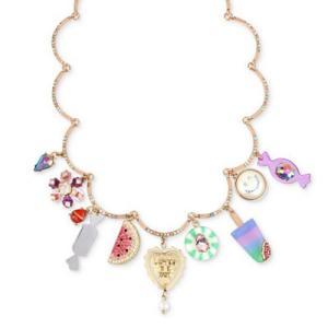 ベッツィージョンソン ネックレス Betsey Johnson  Rose Gold-Tone Pave & Multi-Charm Statement Necklace (Multi) マルチ チャーム ネックレス fromla