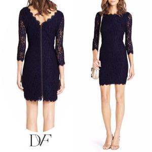 ダイアンフォンファステンバーグDVF レースワンピース Zarita Lace Dress(Midnight) レースドレス(ミッドナイト) ネイビー 新作 パーティドレス|fromla
