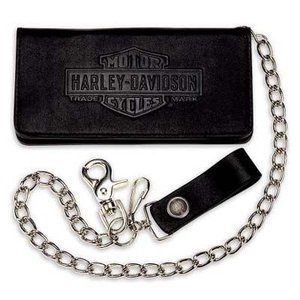 Harley Davidson   ハーレーダビッドソン ウォレットチェーン  Men's Vintage Bar & Shield Logo Bi-Fold Deluxe Biker Wallet|fromla
