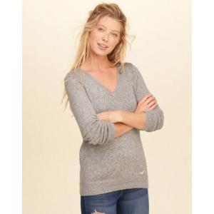 ホリスター Hollister レディース ニット/セーター V-Neck Icon Sweater グレイ
