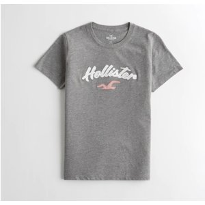 ホリスター  Hollister レディース Tシャツ ★6749 Applique Logo Graphic Tee グレイ|fromla