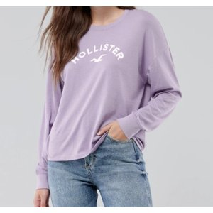 ホリスター Hollister レディース ロングTシャツ  ★6766 Flock Logo Graphic Tee パープル|fromla