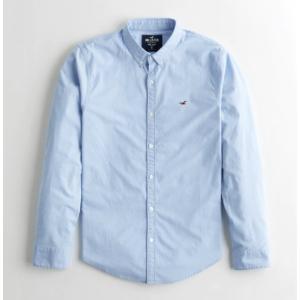 Hollister ホリスター メンズ  コットン長袖シャツ ★6736,6737 Stretch Oxford Slim Shirt ライトブルー|fromla