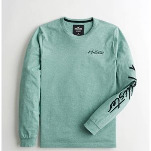 ホリスター Hollister メンズ  ロングTシャツ ★6731 Colorblock Logo Graphic Tee グリーン  USA直輸入  アメカジ アメリカン Tシャツ|fromla