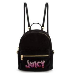 ジューシークチュール バックパック/リュック Velour mini backpack with crystals from Swarovski? スワロフスキー ベロア ミニ バックパック(ブラック fromla