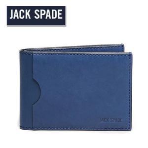 ジャックスペード Jack Spade 二つ折り財布 メンズ Grant Leather Bi-Fold Wallet グラント レザー フォールド 財布(ブルー)|fromla