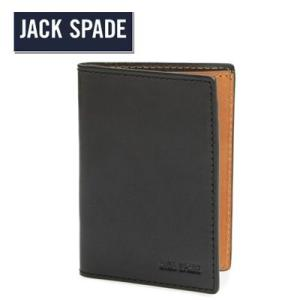 ジャックスペード Jack Spade 二つ折り財布 メンズ Mitchell Vertical Flap Leather Wallet ミッチェル バーティカル フラップ レザー 財布(ブラック)|fromla
