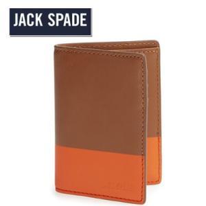 ジャックスペード Jack Spade 二つ折り財布 メンズ Vertical Flap Dipped Leather Wallet バーティカル フラップ ディップド レザー 財布(ブラック)|fromla