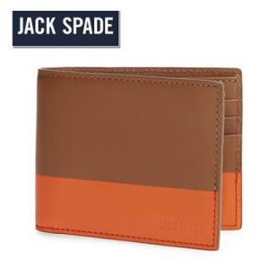 ジャックスペード Jack Spade 二つ折り財布 メンズ Dipped Leather Wallet ディップド レザー 財布(ブラック)|fromla