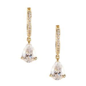 ケイトスペード ピアス Kate Spade  Crystal Huggie Hoop Drop Earrings (GOLD) クリスタル ドロップ ピアス (ゴールド)|fromla