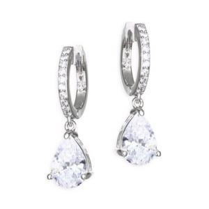 ケイトスペード ピアス Kate Spade  Crystal Huggie Hoop Drop Earrings (SILVER) クリスタル ドロップ ピアス (シルバー)|fromla