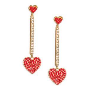 ケイトスペード ピアス Kate Spade  Pave Heart Linear Drop Earrings (Red) ハート ドロップ ピアス (レッド)|fromla