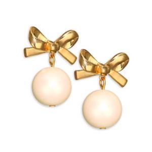 ケイトスペード ピアス Kate Spade  14k Gold-Plated Imitation Pearl Bow Drop Earrings (GOLD) パール リボン ドロップ ピアス (ゴールド)|fromla