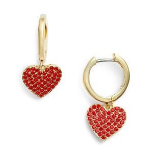ケイトスペード ピアス Kate Spade  yours truly pave heart drop earrings (RED) ハート ドロップ ピアス (レッド)|fromla