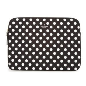 ケイトスペード ノートパソコンケース Kate Spade  dot laptop sleeve  ドット ラップトップスリーブ 13インチ(ブラック/クリーム)|fromla