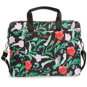 ケイトスペード 2WAYノートパソコンケース Kate Spade  jardin laptop commuter bag フラワー ナイロン パソコンバッグ (ブラックマルチ)|fromla