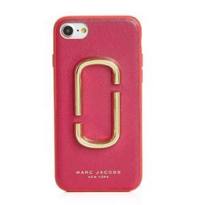 マークジェイコブス iPhoneケース ● MARC JACOBS  Double J Saffiano Leather iPhone 7/8 Case ダブルJ レザー iPhone7/8ケース (ハイビスカスマジェンタ)
