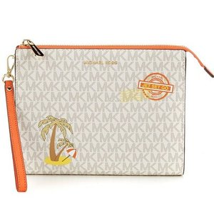 マイケルコース クラッチ Michael Michael Kors  Signature Palm Tree Medium Box Travel Pouch (Vanilla/Mimosa) パームツリー トラベル ポーチ (バニラ)|fromla