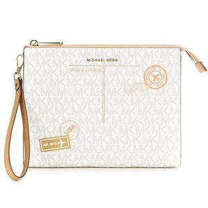 マイケルコース クラッチ Michael Michael Kors  Signature Mail Medium Box Travel Pouch (Vanilla/Cashew) メール トラベル ポーチ (バニラ)|fromla