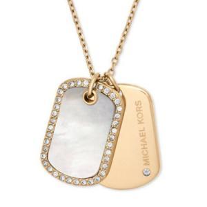 マイケルコース ネックレス Michael Kors Gold-Tone Pave & Mother-of-Pearl Dog Tags Pendant Necklace ドッグタグ ペンダント ネックレス (ゴールド) fromla