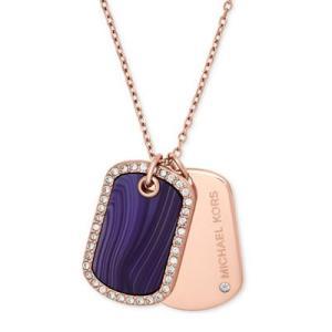 マイケルコース ネックレス Michael Kors Rose Gold-Tone Crystal & Purple Stone Dog Tags Pendant Necklace ドッグタグ ペンダント (ローズゴールド) fromla