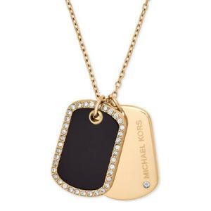 マイケルコース ネックレス Michael Kors Gold-Tone Pave & Black Stone Dog Tags Pendant Necklace ドッグタグ ペンダント ネックレス (ゴールド) fromla
