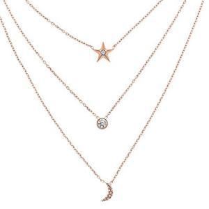 マイケルコース ネックレス Michael Kors Rose Gold-Tone Stainless Steel Pave Triple-Row Celestial Pendant Necklace トリプル ペンダント (ローズゴールド) fromla