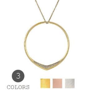 マイケルコース ネックレス Michael Kors Pave Circle Pendant Necklace サークル ペンダント ネックレス (全3色) fromla