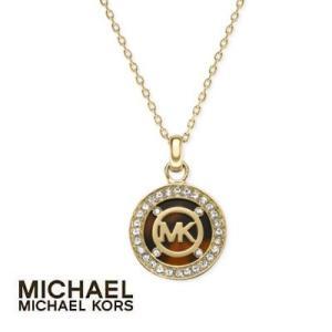 La michael michael kors gold michael michael kors gold tone tortoise logo pendant necklace mozeypictures Image collections