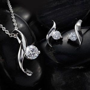 ジュエリーセット 流線形 デザイナーズ ダイヤモンドcz 誕生日プレゼント 女性 母 嫁 プレゼント