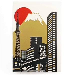 シルク印刷クリスマスカード 東京富士山と初日の出...