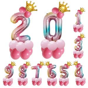 レインボー 数字 バルーン 立体セット 誕生日 クイーン プリンセス ナンバー バルーン 100cm...