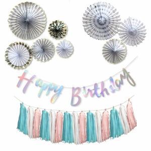 ハッピーバースデー デコレーションセット パステルレインボー ペーパーフラワー 誕生日 飾り付け ガーランド タッセル おしゃれ