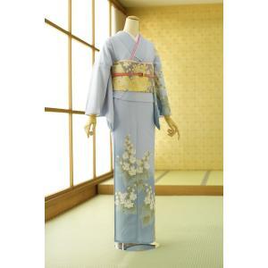 【商品番号:mh1335】 【商品名:ブルーグレー桐の花】  ※この着物は、背中・両袖・腰から裾まで...